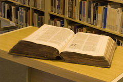 Old bible in the library Stock Photos