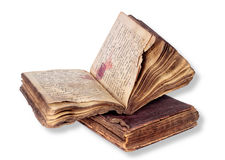 Old Bible.. Two very old Bibles. Closed and opened. On a white background. It is , the worker of paths is present Royalty Free Stock Photo