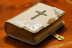 Old bible. An old bible from the year 1850 with a clasp and metal bindings Royalty Free Stock Photography