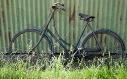 Old Bicicyle. This bike was at an auction and it had not been used in years but hopefully someone would buy it and restore it into working condition stock image