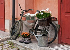 Old bicycle. Used as a decoration royalty free stock images