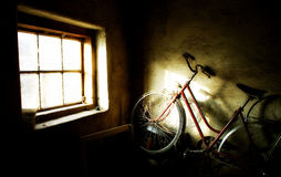 Old bicycle. Old forgotten red bike in dusty cellar Royalty Free Stock Photo