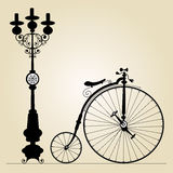 Old bicycle. Template with space for your message Royalty Free Stock Image
