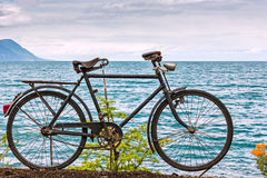 Old bicycle adorn the promenade in Montreux Stock Photos