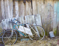 Old bicycle. At the background of a wooden wall Royalty Free Stock Photos