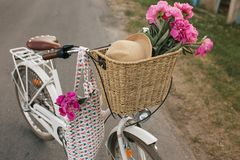 Old white bicycle with basket of flower and hat. Old bicycle with basket of flower and hat Royalty Free Stock Photos
