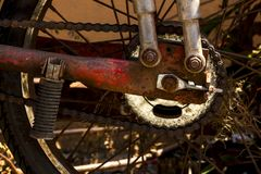 Chain of bicycle wheels and rust. royalty free stock images