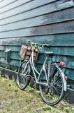 Old bicycle decorated with flowers stock photos