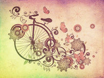 Old Bicycle and Floral Ornament Grunge Royalty Free Stock Image
