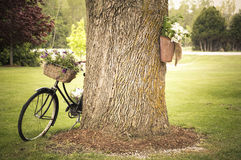 Old Bicycle with Flowers Leaning Against Tree. An old bicycle decorated with flowers leans against a tree as decoration in a rural setting Royalty Free Stock Photo