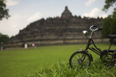 Old bicycle in front of Borobudur temple Royalty Free Stock Photo