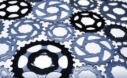 Old bicycle gear used cogwheels Stock Images