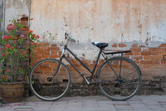 Old bicycle and a grungy wall Stock Images