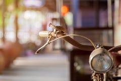 Old bicycle handlebar. Selective focus Stock Photography