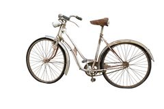 Old bicycle isolated on white Royalty Free Stock Photos