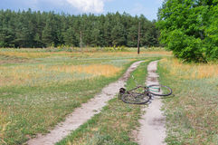 Old bicycle lying on the country roadside Stock Photography