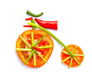 Old bicycle made from vegetables. Old bicycle made from vegetables for health royalty free stock photos
