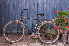 Old  bicycle near a blue wooden fence in village Stock Photo