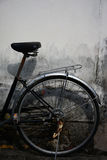 Old bicycle and old wall. Classic old bicycle and old wall Royalty Free Stock Photo
