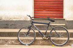 Old bicycle. Parked on a street in the town of Rosario do Limeira, Minas Gerais state, Brazil Stock Image