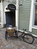 Old bicycle in Porvoo. Old bicycle in the nice Porvoo Royalty Free Stock Photography