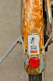 Old bicycle with rusty fender and kickstand Royalty Free Stock Photo