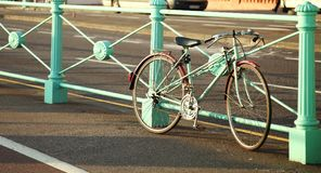 Old bicycle scene. Bicycle parking scene represent road and transportation concept in the city idea Stock Photo