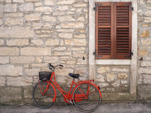 Old bicycle on a side street Stock Photo