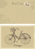 Old bicycle vintage postcard Stock Photography
