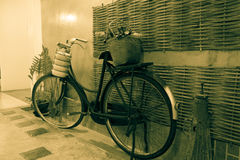 Old bicycle vintage style. Against brick wall Stock Photography
