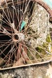 Old bicycle wheel at the dump, scrap metal from household waste, recyclable secondary resources stock photos