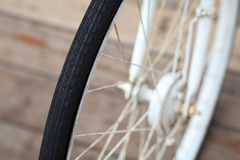Old bicycle wheel. An old bicycle wheel transport Royalty Free Stock Photo
