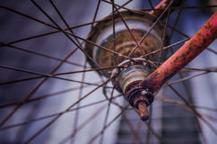 Old bicycle wheel transport Royalty Free Stock Photos