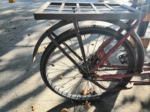 The old bicycle wheel was not used. royalty free stock photo