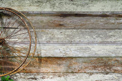 Old bicycle wheel on wooden wall. For background Stock Image