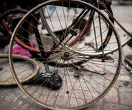Old bicycle wheels. A bicycle repair shop old bicycle wheels Stock Photos