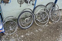 Old bicycle wheels Royalty Free Stock Photography