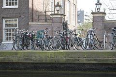 Old bicycles in Amsterdam Stock Images