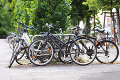 Old bicycles in stack Royalty Free Stock Image