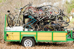 Old bicycles on a trailer Royalty Free Stock Photo