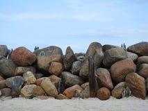 Old big beautiful stones near sea, Lithuania royalty free stock photos