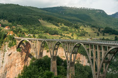 Old big bridge in Durdevica and fantastic view Tara Stock Images
