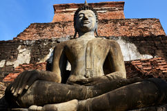 Old big buddha statue and Ancient building Royalty Free Stock Photo