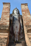 Old big buddha statue and Ancient building Royalty Free Stock Photos