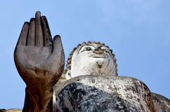 Old big buddha statue and Ancient building Stock Image