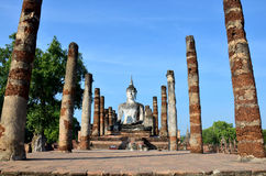 Old big buddha statue and Ancient building at Sukhothai, Thailan Royalty Free Stock Images