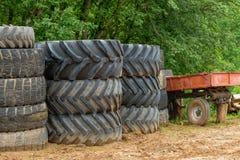 Old big car tires. Stack of old big car tires stock image