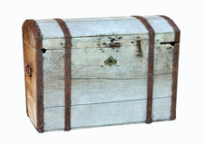 Old big chest. On white royalty free stock photo
