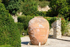 Old big clay pots with flowers, Balchik, Bulgaria Stock Photos