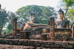 Old Big Ruin  Reclining and sitting Buddha in Kamphaeng Phet His Royalty Free Stock Photography